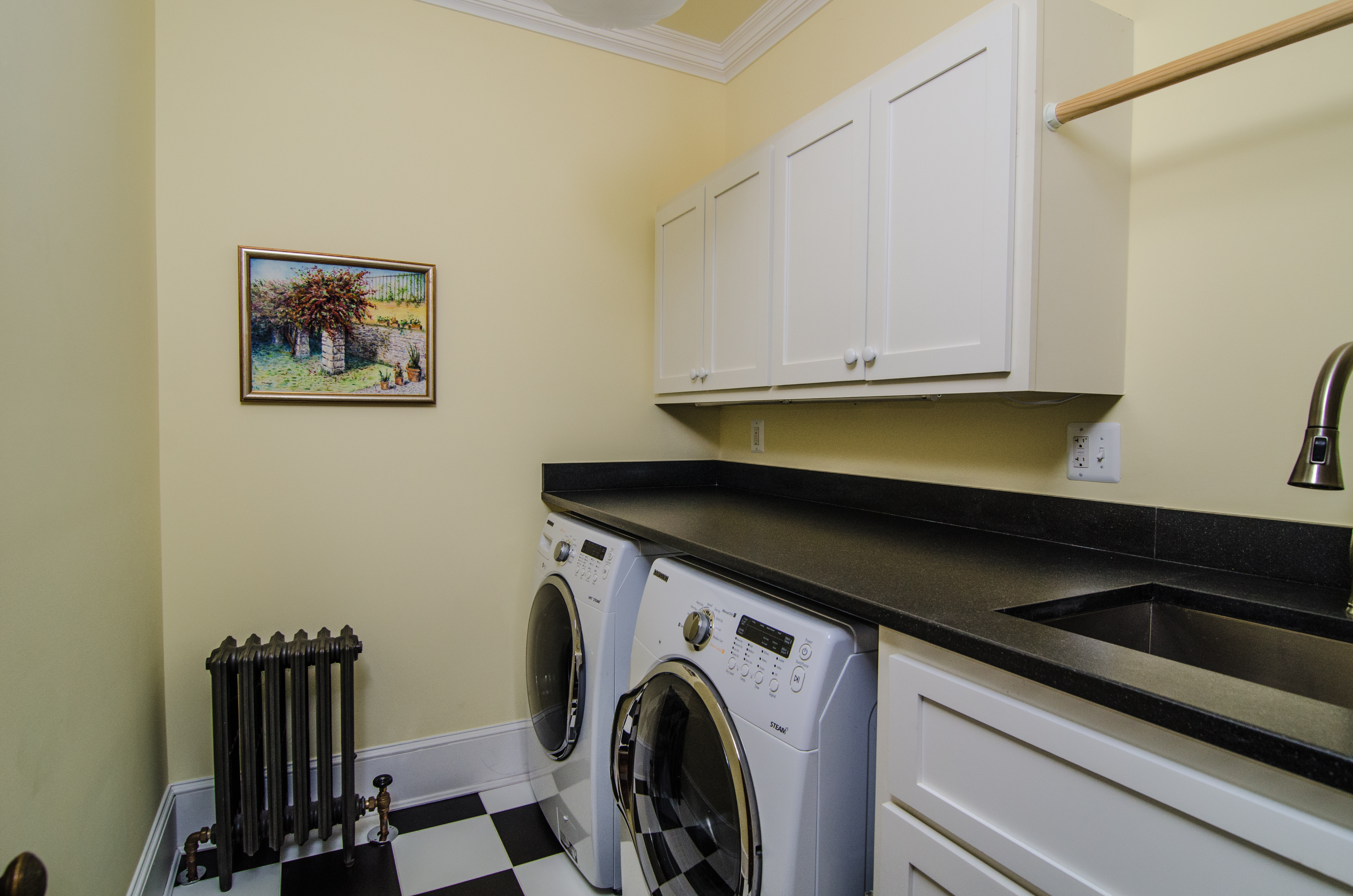 laundry room in historic house, absolute black granite, leather, honed, finish,